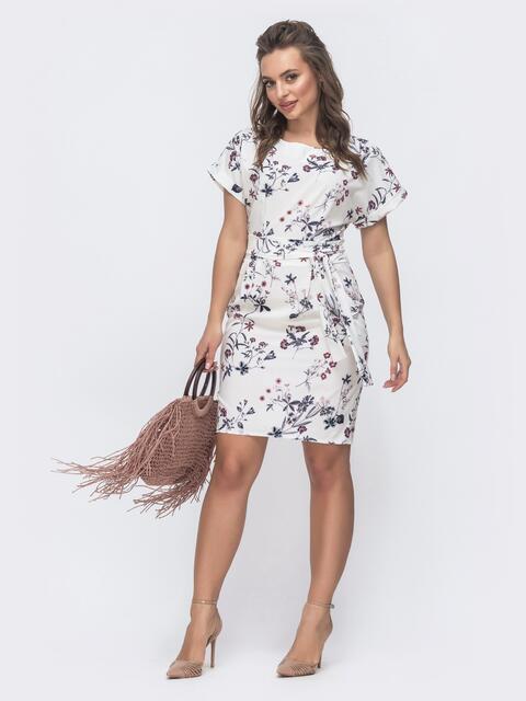 Приталенное платье с принтом и цельнокроеным рукавом молочное 47302, фото 1