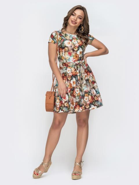 """Расклешенное платье с принтом и рукавом """"крылышко"""" коричневое 47308, фото 1"""