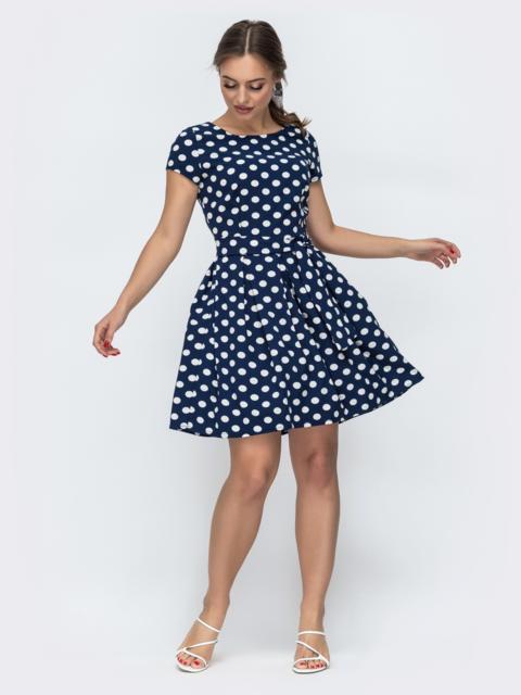 """Расклешенное платье в горох с рукавом """"крылышко"""" тёмно-синее 47306, фото 1"""