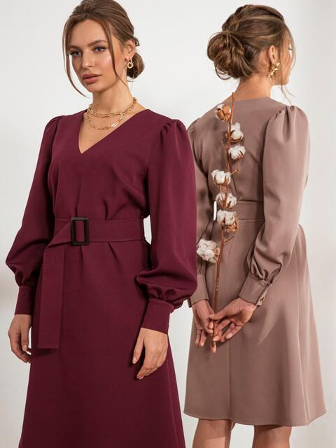 Бордовое платье с расклешенной юбкой 44205, фото 1