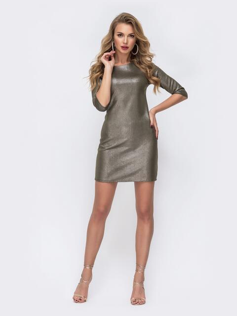 Платье-мини с замшевым напылением хаки 42857, фото 1