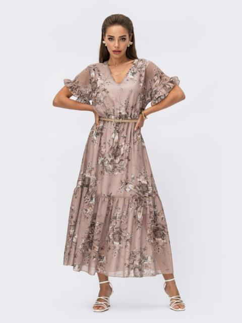 Шифоновое платье с цветочным принтом и юбкой-клеш бежевое 54216, фото 1