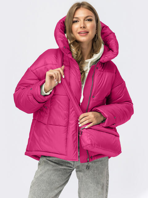 Зимняя куртка розового цвета с сумкой в комплекте 55482, фото 1