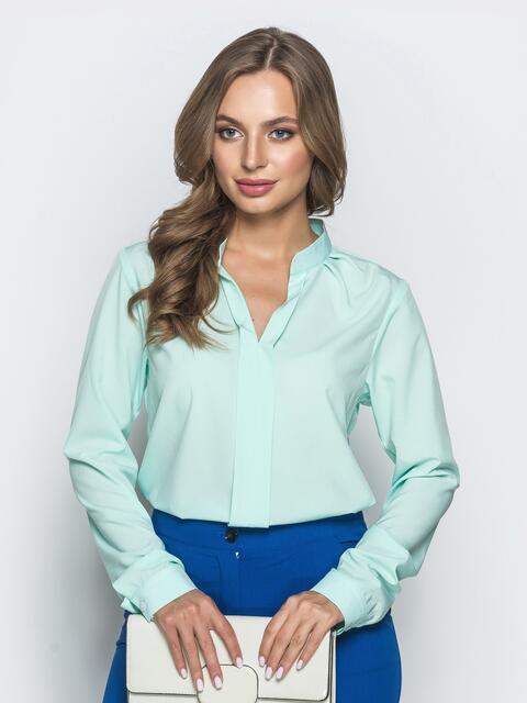 Классическая блузка с V-вырезом мятная 39845, фото 1