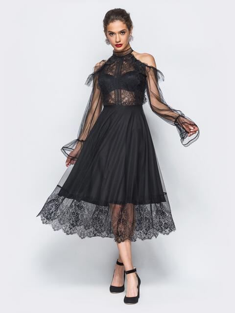 Вечернее платье с кружевом и открытыми  плечами черное 17901, фото 1