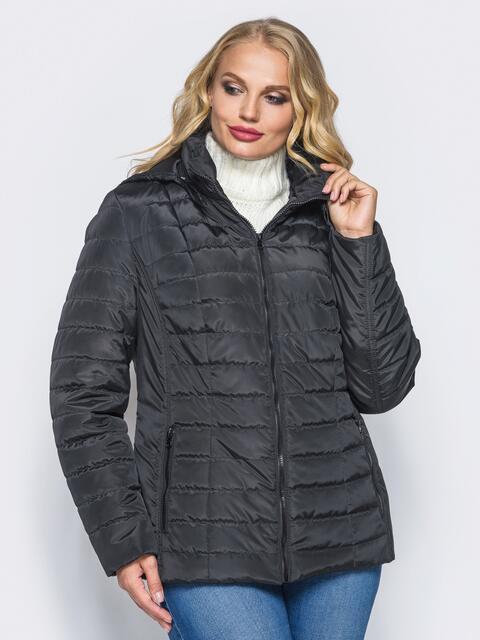 Черная демисезонная куртка батал с съемным капюшоном 14711, фото 1