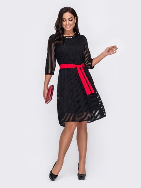 Двухслойное платье батал в полоску черное 52135, фото 1