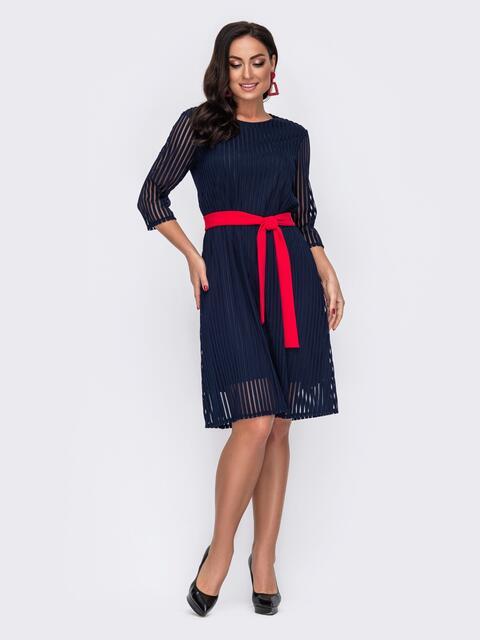Двухслойное платье батал в полоску тёмно-синее 52136, фото 1