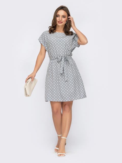 Короткое платье в горох с резинкой в поясе серое 54318, фото 1