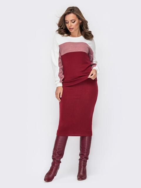 Костюм из ангоры со свитшотом и юбкой бордовый 52108, фото 1