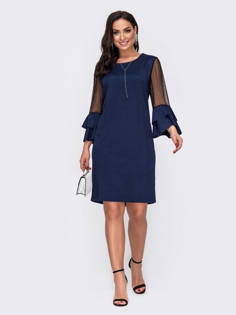 Платье батал с воланами на рукавах тёмно-синее 52110, фото 1