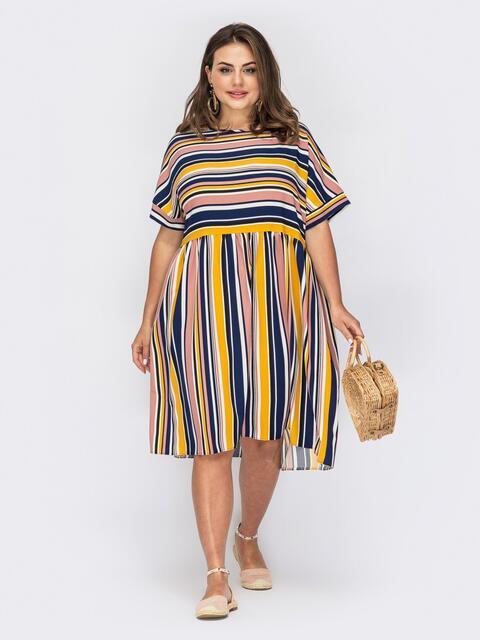 Платье в полоску с расклешенной юбкой и коротким рукавом 53969, фото 1