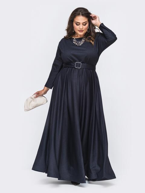 Расклешенное платье-макси большого размера тёмно-синее 51015, фото 1