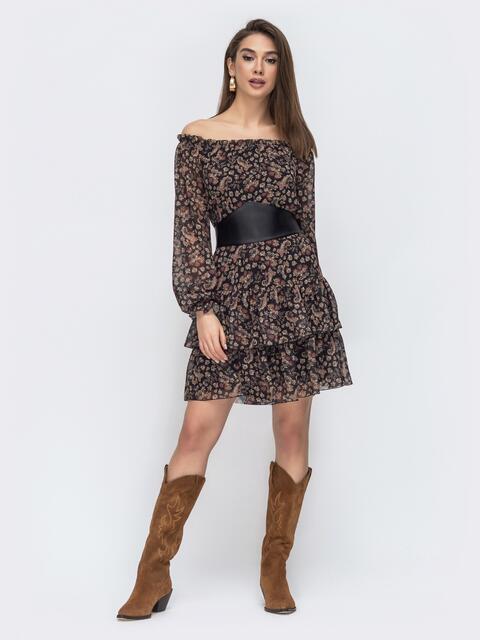 Шифоновое платье с принтом и открытыми плечами чёрное 45078, фото 1