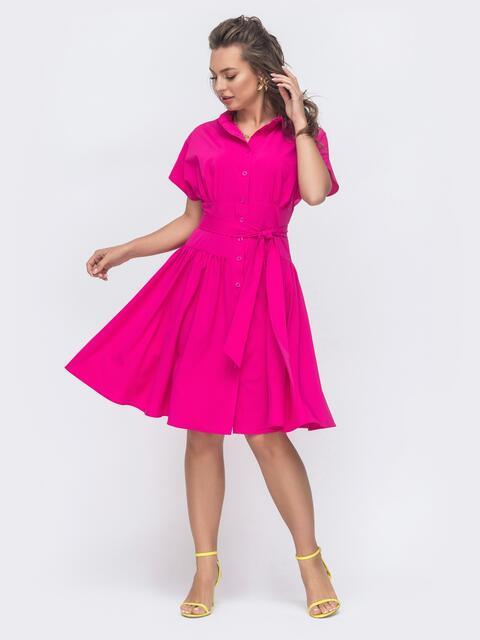 Расклешенное платье с драпированным лифом розовое 47312, фото 1