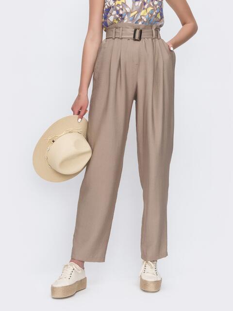 Широкие брюки бежевого цвета с высокой посадкой 49134, фото 1