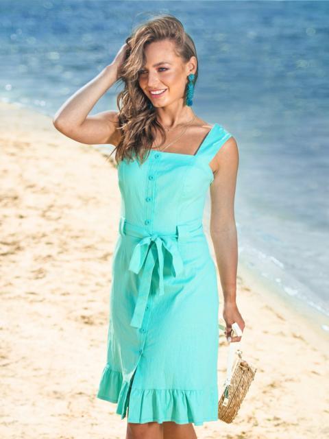 Бирюзовое платье с воланом по низу и вырезом каре 38572, фото 1
