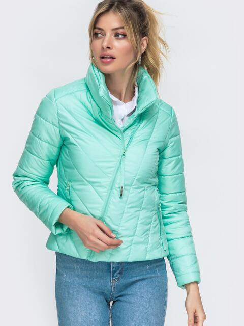 Демисезонная куртка бирюзового цвета с косым замком 45415, фото 1