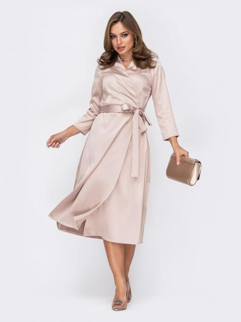 Атласное платье на запах бежевого цвета 52125, фото 1