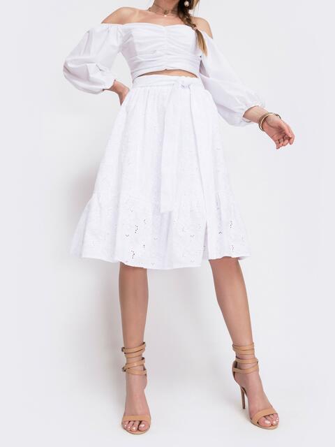 Белая юбка-полусолнце из прошвы с воланом 46981, фото 1