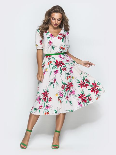 Платье бежевого цвета из софта с принтом 39716, фото 1