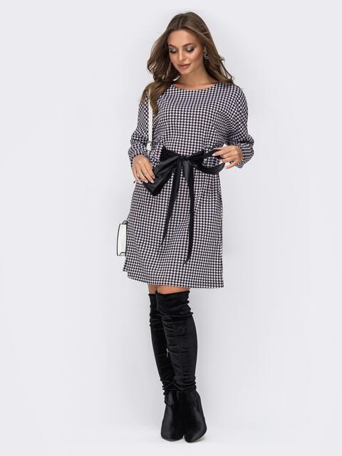 """Платье с принтом """"гусиная лапка"""" и резинкой по талии чёрное 42016, фото 1"""