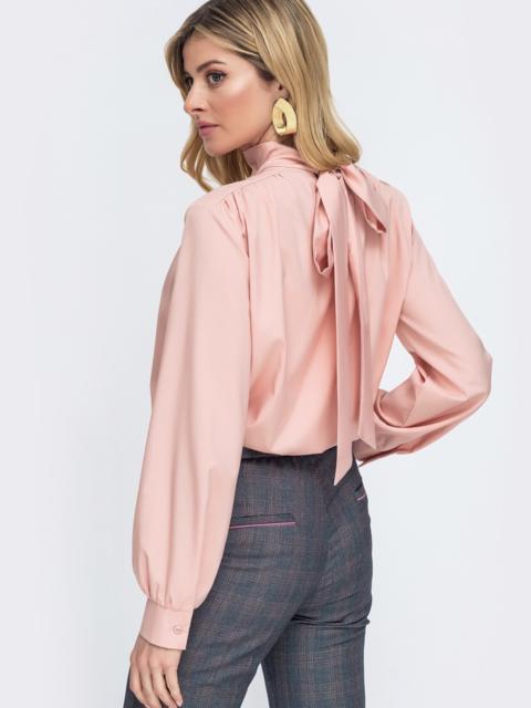 Блузка пудрового цвета с оборками по вырезу 45522, фото 1