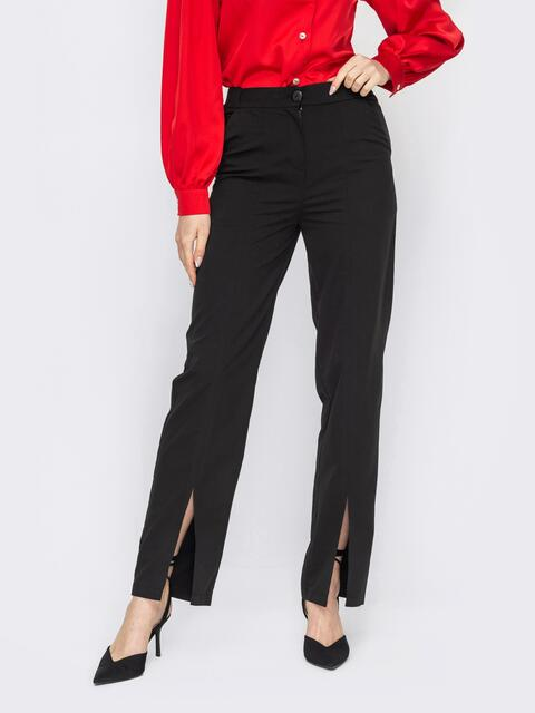 Черные брюки с разрезом спереди по штанине 53141, фото 1