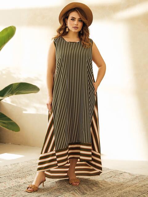 Длинное платье батал цвета хаки в полоску  53756, фото 1