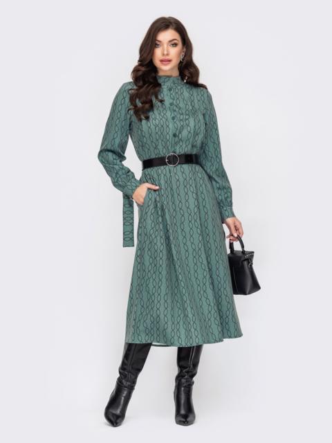 Длинное платье из трикотажа с принтом зеленое 52100, фото 1