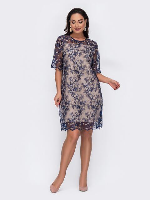 Прямое платье большого размера из гипюра синее 52139, фото 1