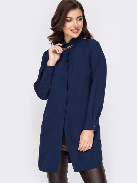 Удлиненная рубашка с супатной застёжкой темно-синяя 52096, фото 1