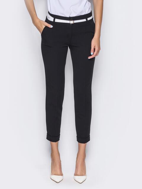 Укороченные брюки со шлёвками для пояса черные 14403, фото 3