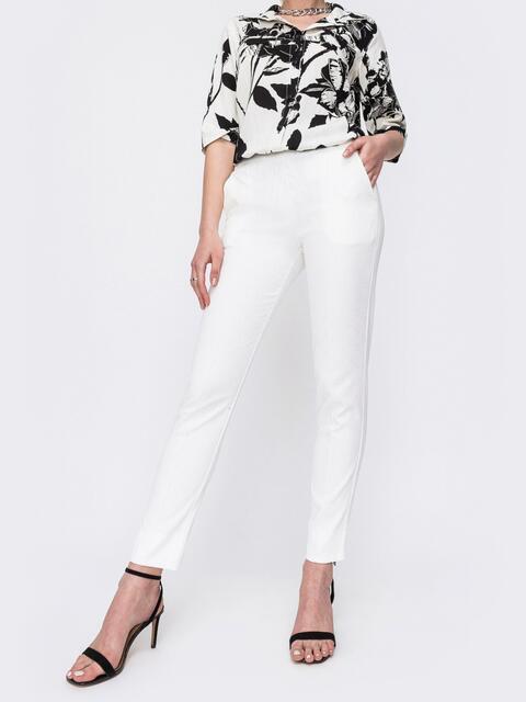 Жакардовые брюки белого цвета 47021, фото 1