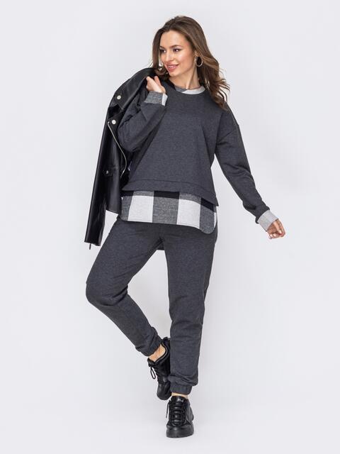 Костюм-двойка из свитшота и брюк серого цвета 53321, фото 1