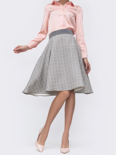 Расклешенная юбка в клетку серая 45727, фото 1