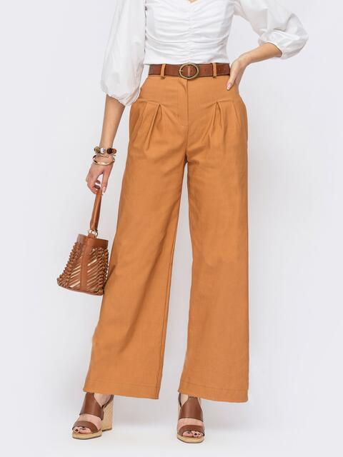 Терракотовые брюки прямого кроя с завышенной талией 53979, фото 1