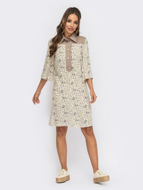 Платье-рубашка из бежевого штапеля с цветочным принтом 53854, фото 1