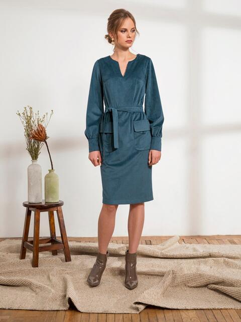 Темно-зелёное платье из вельвета с накладными карманами 44235, фото 1