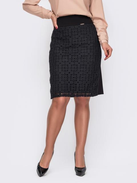 Чёрная юбка-карандаш большого размера с кружевными вставками 52127, фото 1