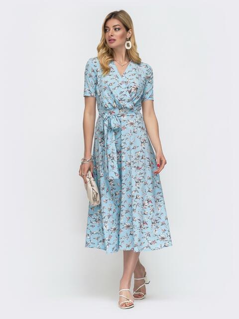 Голубое платье в мелкий цветок с лифом на запах 48540, фото 1