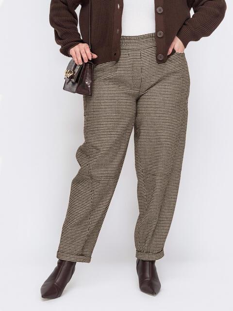 Коричневые брюки батал с элластичной деталью по талии 53633, фото 1