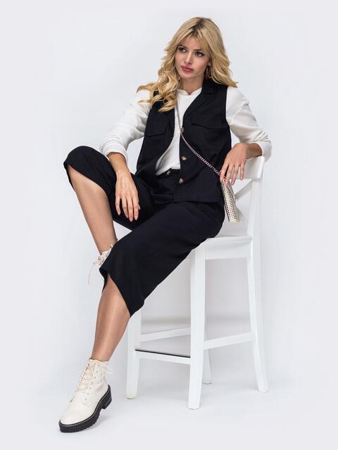 Льняной комплект из блузки и брюк-кюлотов чёрный 50160, фото 1