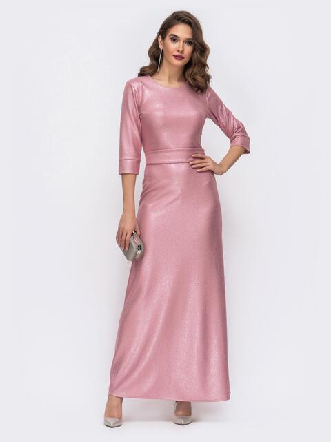 Розовое платье-макси с напылением и юбкой-трапеция 42738, фото 1