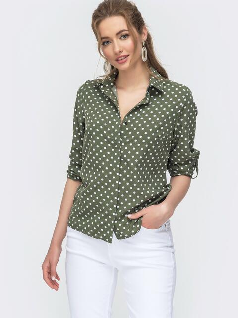 Блузка на пуговицах в горох цвета хаки 46897, фото 1