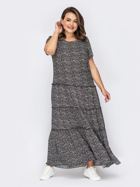 Платье-макси батал с принтом чёрное 53957, фото 1