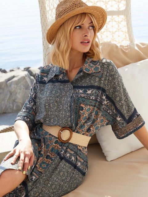 Платье-рубашка с принтом и закругленным низом бирюзовое 54134, фото 1