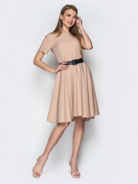 Бежевое платье с юбкой-клеш и короткими рукавами 20628, фото 1