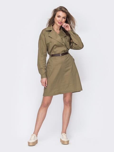 Платье-рубашка цвета хаки с поясом 53443, фото 1