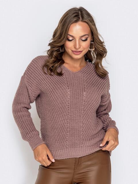 Пудровый свитер крупной вязки 41148, фото 1